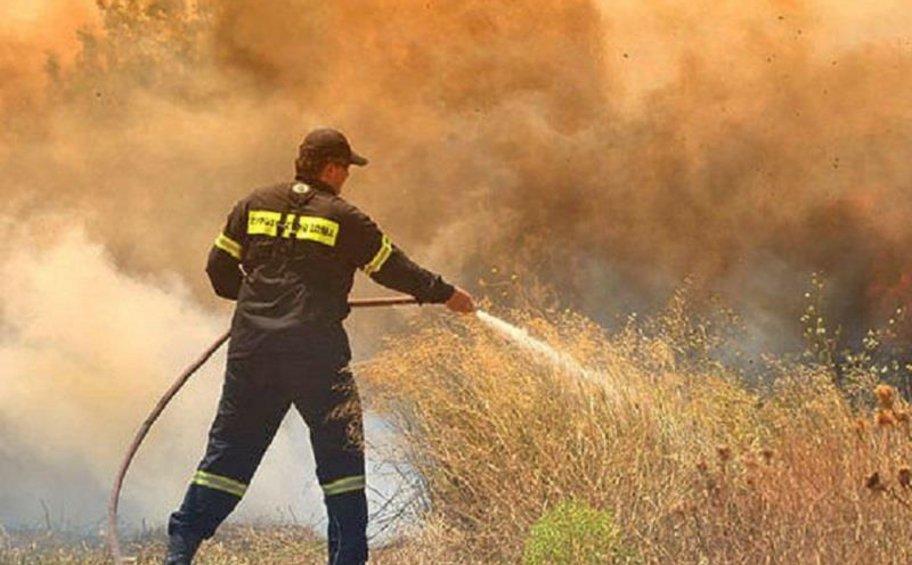 Πυρκαγιά σε ξερά χόρτα στο Σέιχ Σου