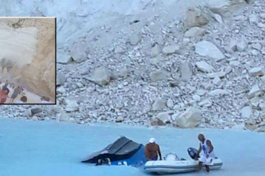 Συγκλονιστικές εικόνες: Η στιγμή αποκόλλησης του βράχου στο Ναυάγιο της Ζακύνθου