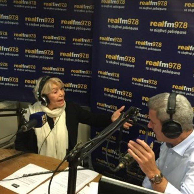 Η Μαρινέλλα στο στούντιο του realfm 97,8 και την εκπομπή του Νίκου Χατζηνικολάου