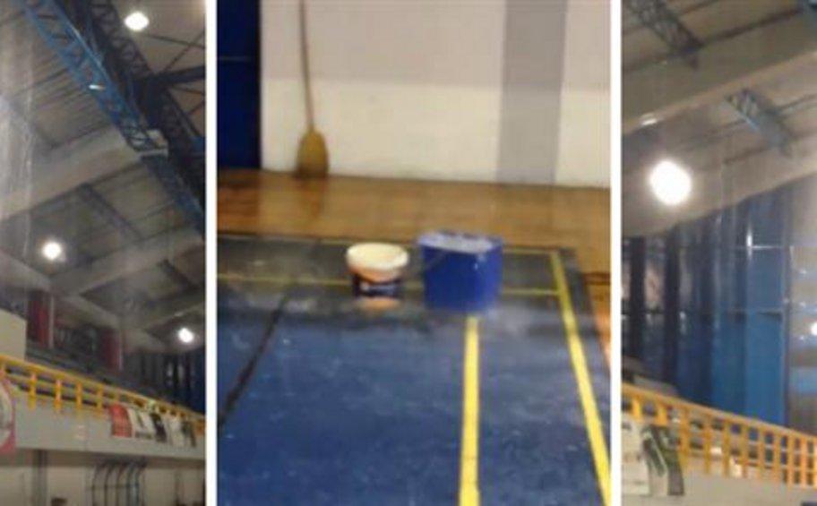 Πύργος: Νεροποντή μέσα σε κλειστό γυμναστήριο στη διάρκεια αγώνα μπάσκετ