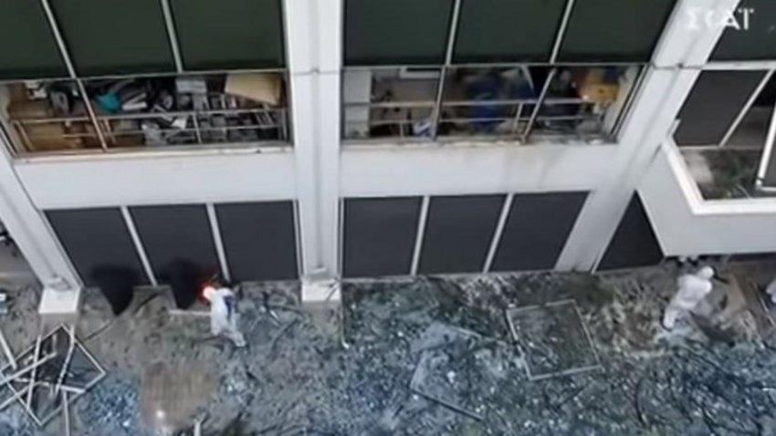 Οι καταστροφές στο κτίριο του ΣΚΑΪ από drone