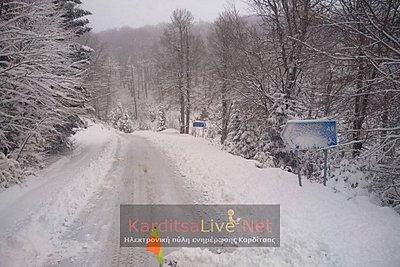 Kαρδίτσα: Πυκνές χιονοπτώσεις - Ανοιχτοί όλοι οι δρόμοι στα ορεινά