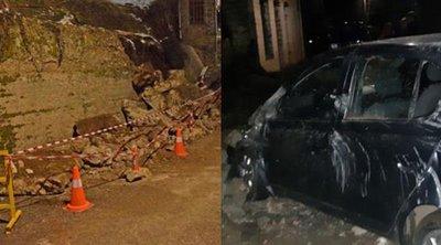 Κατέρρευσε τείχος πάνω σε αυτοκίνητο - Από «θαύμα» σώθηκαν 30χρονος και η σύντροφός του