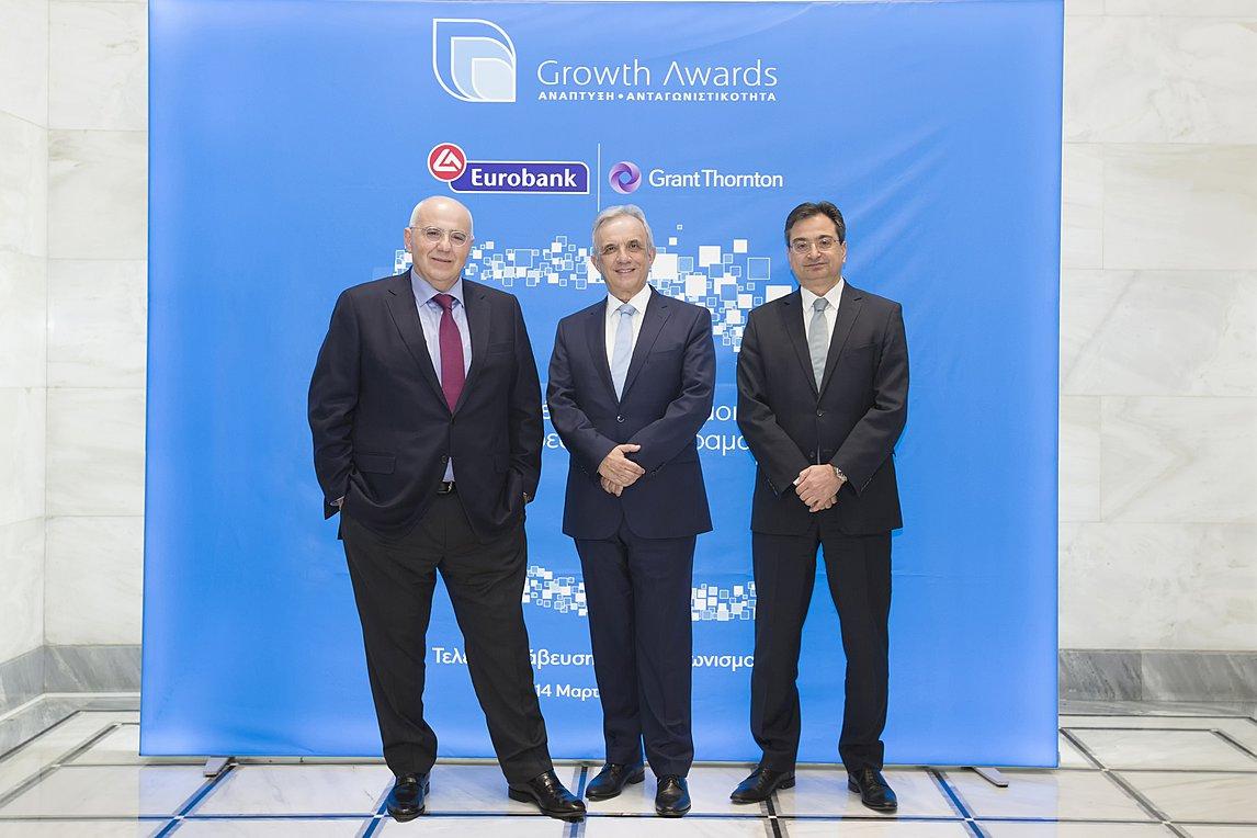 Από αριστερά προς τα δεξιά διακρίνονται οι κκ.: Νικόλαος Καραμούζης, Πρόεδρος του Διοικητικού Συμβουλίου της Eurobank, Βασίλειος Καζάς, Διευθύνων Σύμβουλος της Grant Thornton και Φωκίων Καραβίας, Διευθύνων Σύμβουλος της Eurobank
