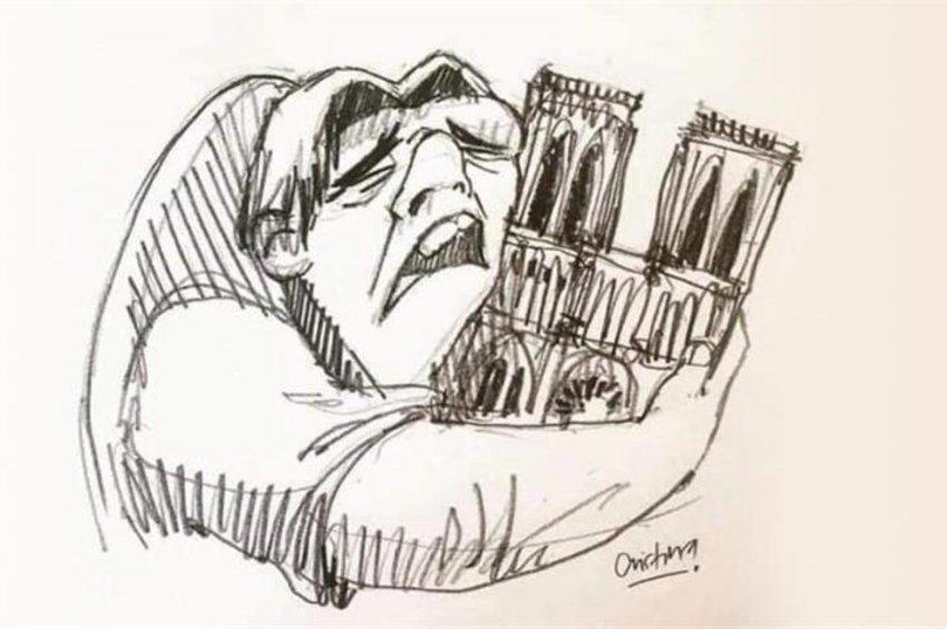 Η θλίψη για την καταστροφή της Παναγίας των Παρισίων σε σκίτσα: Τα δάκρυα του Κουασιμόδου