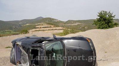 Λαμία: Αυτοκίνητο εκτός ελέγχου κατέληξε σε νταμάρια - Τύχη βουνό για τον οδηγό που βγήκε σώος