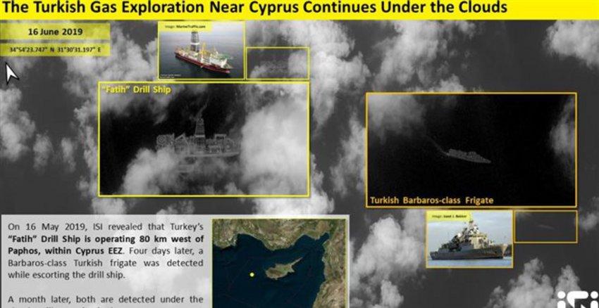 Δορυφορική εικόνα του «Πορθητή» δυτικά της Πάφου - Αγκυρα: Ερχεται και το «Γιαβούζ»