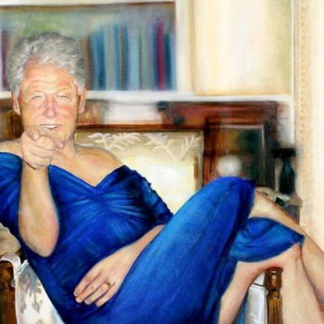 Ο Μπιλ Κλίντον... με μπλε φόρεμα και κόκκινες γόβες - Αίσθηση προκαλεί ο πίνακας που βρέθηκε στο σπίτι του Τζέφρι Έπσταϊν