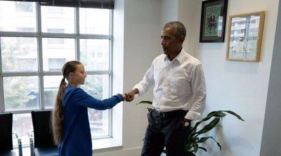 Ο Μπαράκ Ομπάμα συνάντησε την ακτιβίστρια για το κλίμα Γκρέτα Τούνμπεργκ: «Εσύ και εγώ είμαστε ομάδα»