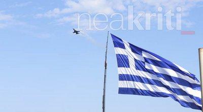 «Μαγνήτισε» το F-16: Εντυπωσιακοί ελιγμοί ανήμερα του Αγίου Μηνά στην Κρήτη