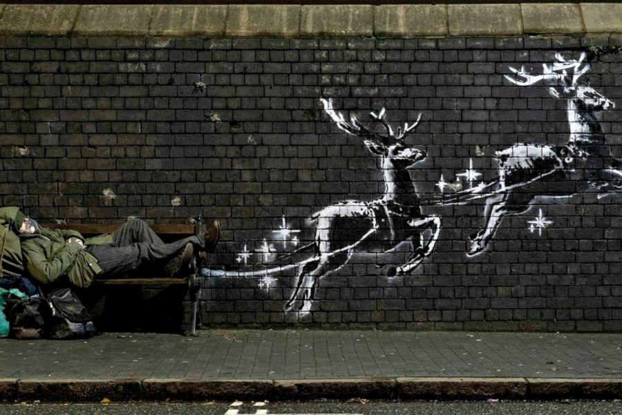 Ευρηματικό χριστουγεννιάτικο γκράφιτι του διάσημου Banksy για τους άστεγους