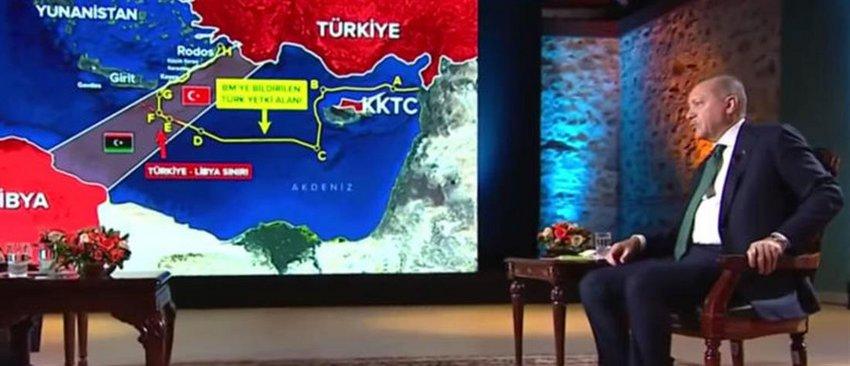 Nέα πρόκληση με χάρτες από τον Ερντογάν: Έδειξε για γεωτρήσεις περιοχή νότια του Καστελλόριζου