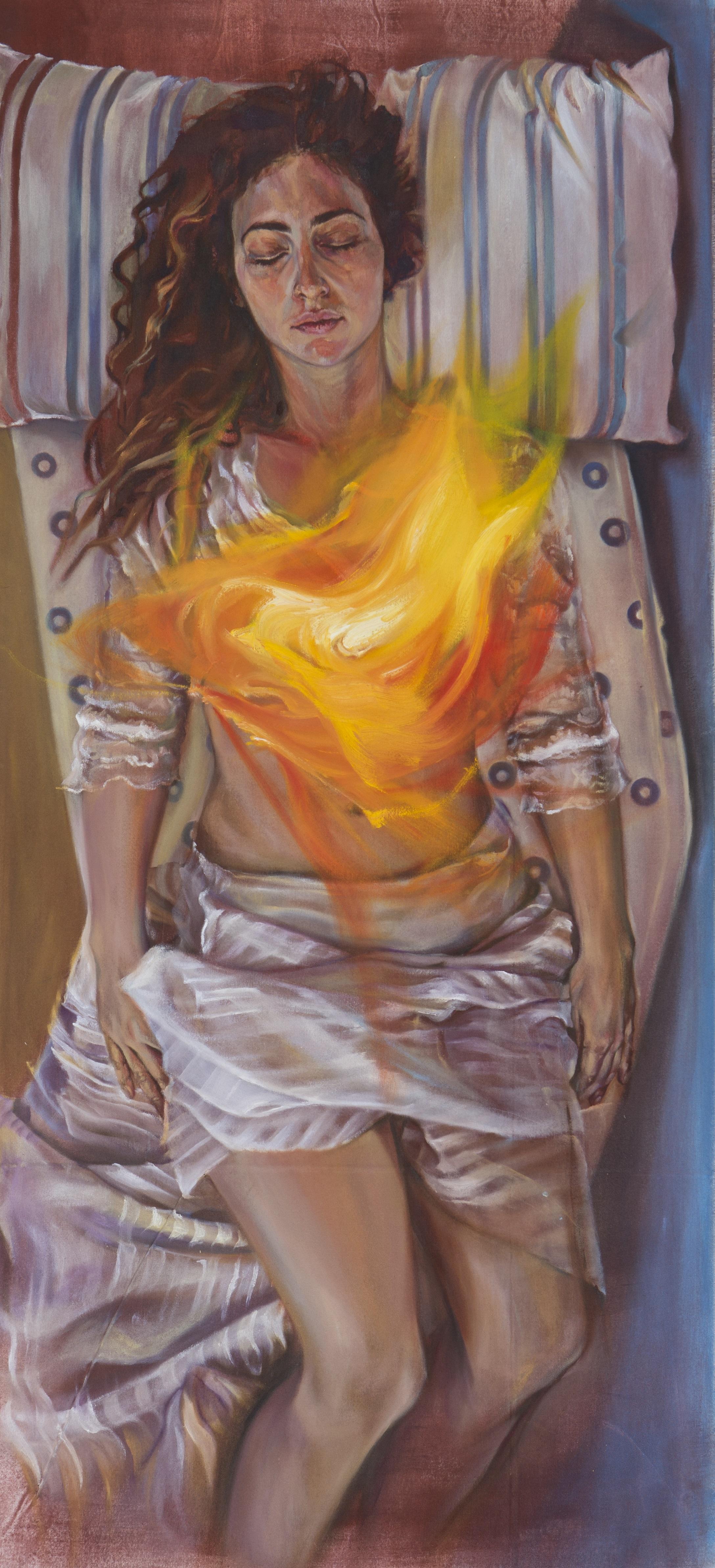 Σοφία Μαρία Ξενάκη, Πυρήνας, Λάδι σε μουσαμά, 132 x 55 εκ.