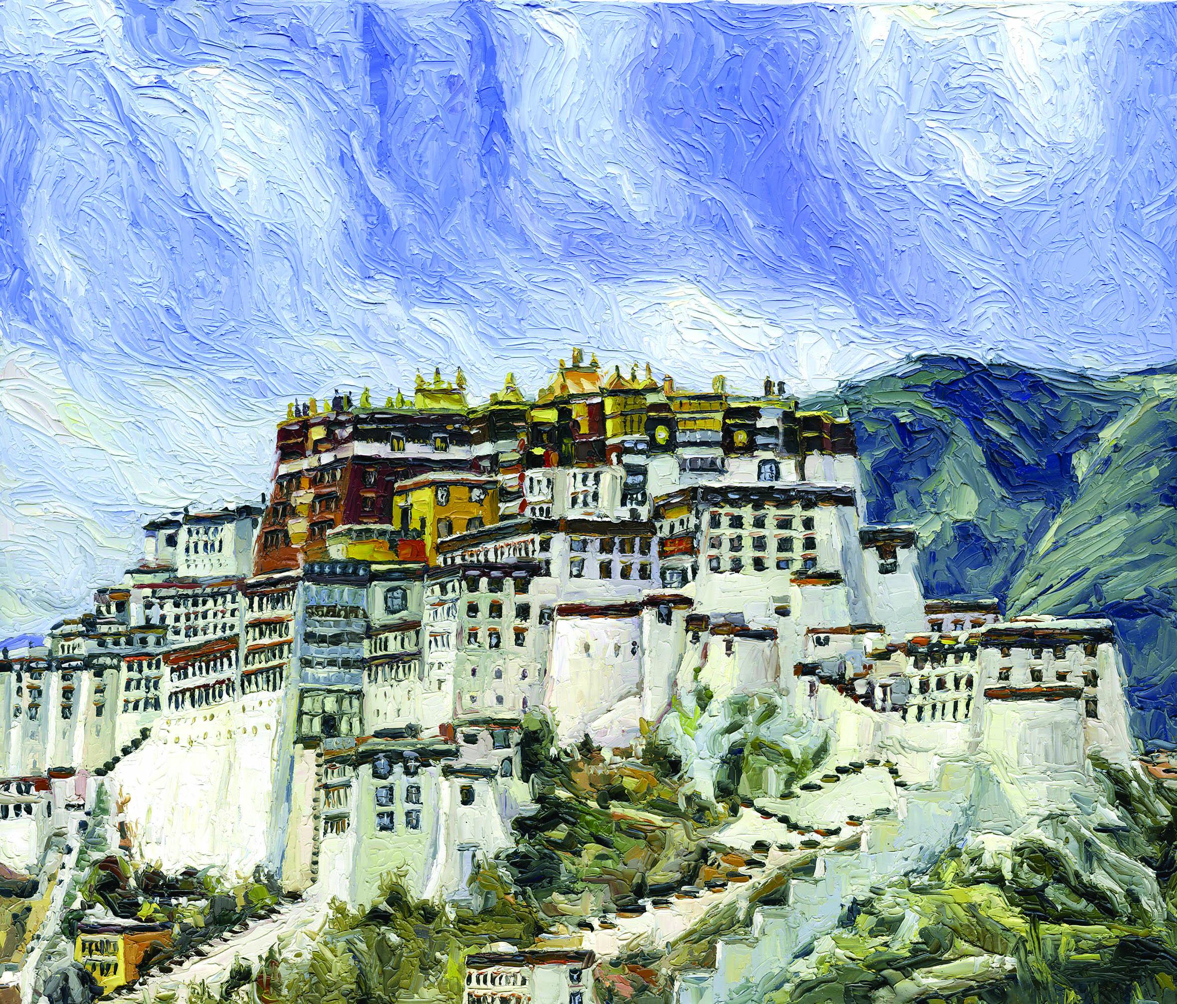 Χρήστος Μπαλούκος, Θιβέτ 1 (2019), Λάδι σε μουσαμά, 50 x 60 εκ.