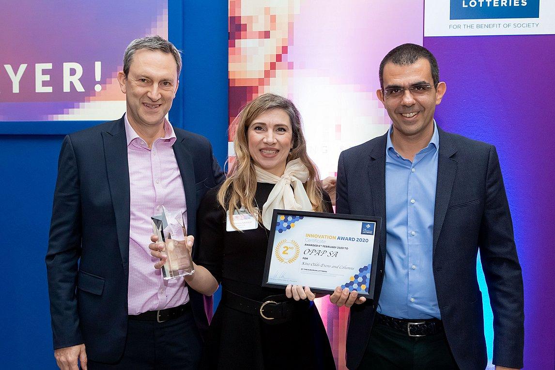 Ντάμιαν Κόουπ, Διευθύνων Σύμβουλος ΟΠΑΠ, Μαριάννα Σαρέλλη, Monitor Games Manager του ΟΠΑΠ και Φώτης Ζησιμόπουλος, Gaming Team Director του ΟΠΑΠ
