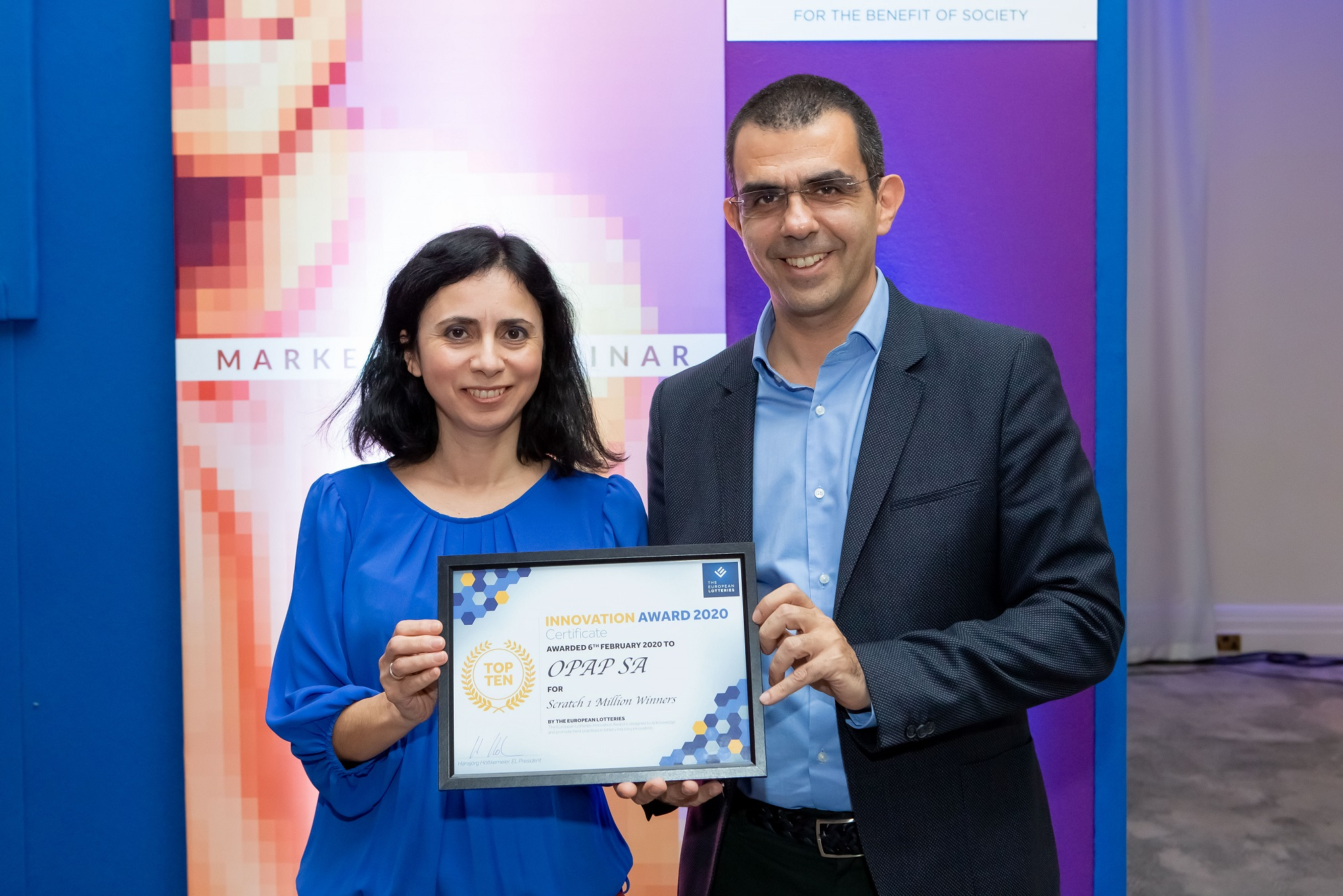 Άσπα Τοπαλίδου, Hellenic Lotteries Director και Φώτης Ζησιμόπουλος, Gaming Team Director του ΟΠΑΠ