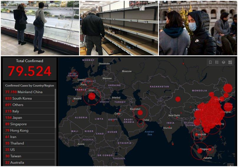 Κορωνοϊός: Εβδομος νεκρός στην Ιταλία - Δείτε σε real time την εξάπλωση του ιού σε όλο τον κόσμο