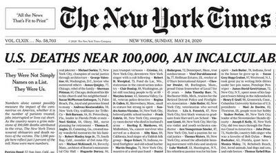Κορωνοϊός: Το συγκλονιστικό πρωτοσέλιδο των New York Times