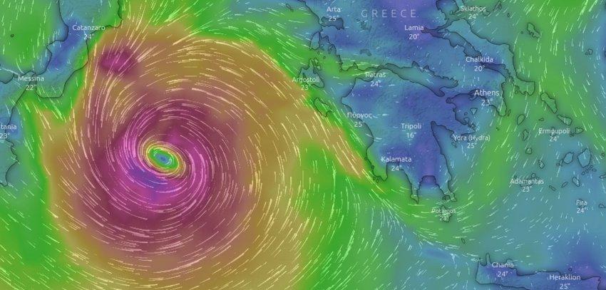 Κακοκαιρία «Ιανός»: Δείτε live την πορεία του μεσογειακού κυκλώνα