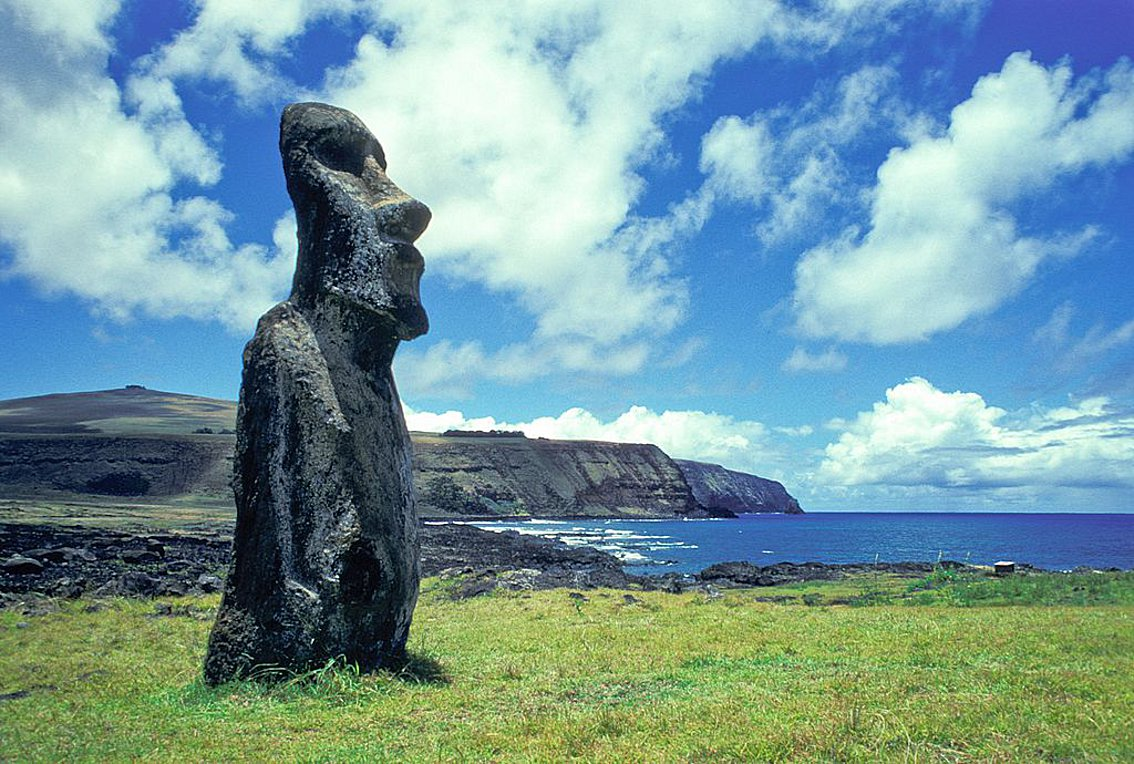 Chile, Easter Island, Moai. (Photo by Education Images/Universal Images Group via Getty Images)
