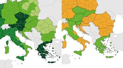 Χάρτες ECDC: «Πράσινη» η Ελλάδα στην θετικότητα, με σταθερή βελτίωση και στα τεστ