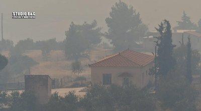 Μεγάλη φωτιά στην Γκάτζια Αργολίδας - Μήνυμα από το 112 για εκκένωση του χωριού - Φωτογραφίες