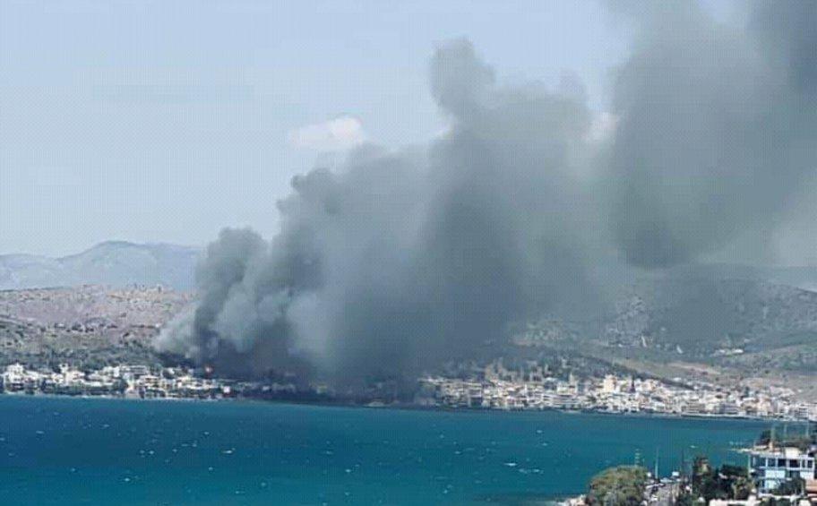 Σε εξέλιξη πυρκαγιά στον Άγιο Νικόλαο Σαλαμίνας - Πνέουν ισχυροί άνεμοι - Φωτογραφίες