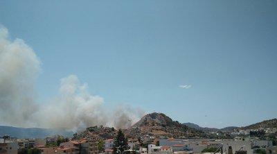 Φωτιά στη Σαλαμίνα: Στη μάχη με τις φλόγες επίγειες και εναέριες δυνάμεις