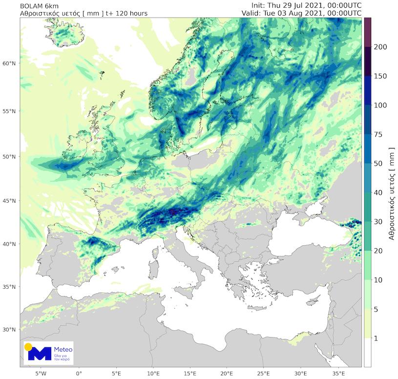Γράφημα 2: Ο αθροιστικός υετός στην Ευρώπη μέχρι το βράδυ της Δευτέρας 02/08, όπως προβλέπεται απο το προγνωστικό μοντέλο του Εθνικού Αστεροσκοπείου Αθηνών/meteo.gr.