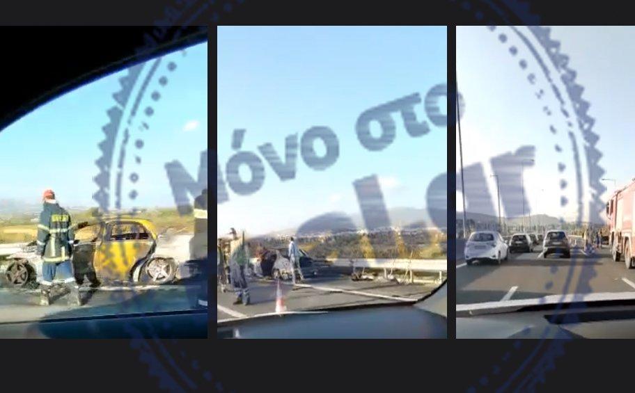 Μόνο στο real.gr: Αυτοκίνητο κάηκε ολοσχερώς στην Αττική Οδό - Βίντεο
